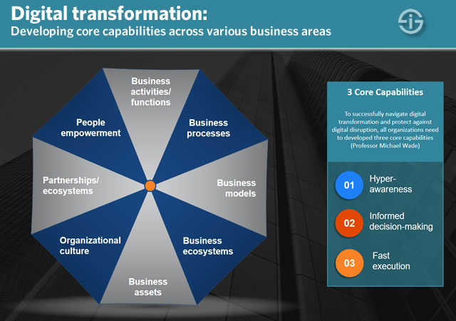 Digital transformation - developing core capabilities across various business areas
